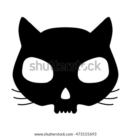funny cat skull silhouette white over stock vector 322301852