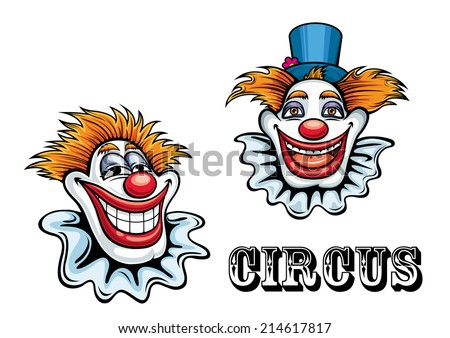Funny circus happy cartoon clowns characters with hat and ball nose. For circus and entertainment design