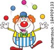 Funny Clown Cartoon Character Juggling With Balls. Vector Illustration Isolated on white - stock