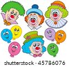 Funny clowns collection - vector illustration. - stock vector