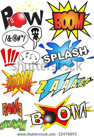 Funny comic book sounds vector