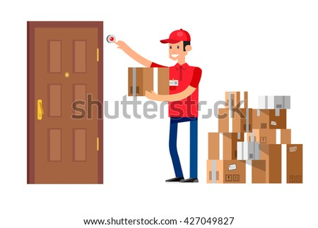 Funny Delivery character man fast to the door and by delivery courier flat set