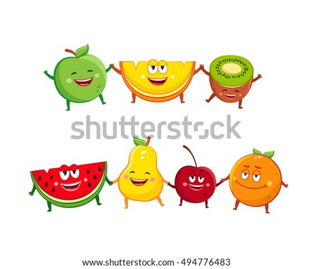 Funny fruits characters cartoon illustration