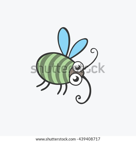 funny green beetle. Flat icons for your design