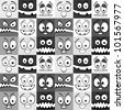 Funny greyscale emotions seamless pattern. - stock vector