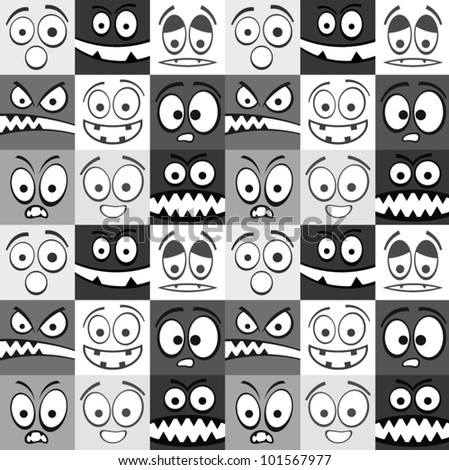 Funny greyscale emotions seamless pattern.