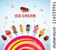 Funny ice cream background - stock vector