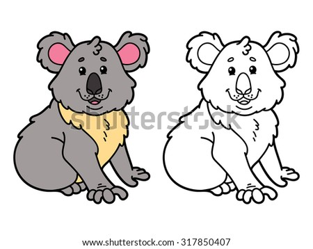 vector illustration coloring page of happy cartoon koala for children coloring and