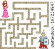 Funny maze game: brave warrior find the way to the beauty princess - stock vector