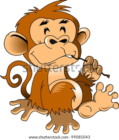 funny monkey cleans teeth stick (vector illustration); - stock vector