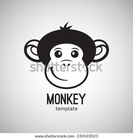 Funny monkey face, New Year 2016, vector illustration logo design