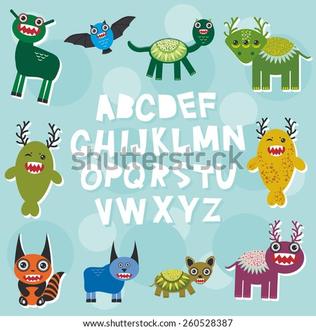 Funny monsters party card design. alphabet  from A to Z. Vector
