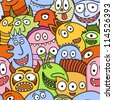 Funny monsters seamless vector pattern. - stock photo