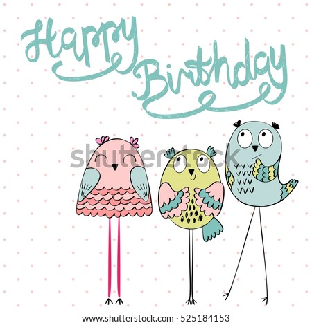 Funny owls in vector. Greeting card for birthday.