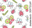 Funny Painted insects, seamless design pattern. Preferably the textile use, such as printing on clothing for children. Easy editable, adobe illustrator 8.0 - stock vector