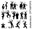 Funny People Prank Playful Actions Stick Figure Pictogram Icons - stock vector