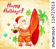 Funny postcard with Cartoon Santa Claus on vacation - stock photo