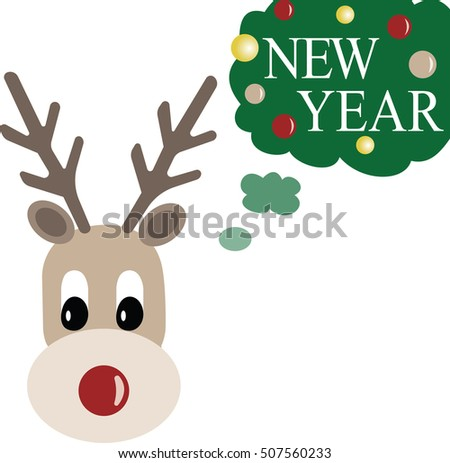 funny rain deer thinking about new year