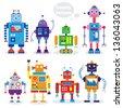 funny robots - stock vector