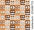 Funny skin color emotions seamless pattern. - stock vector