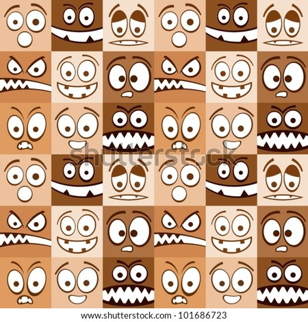 Funny skin color emotions seamless pattern.