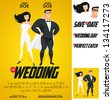 Funny super hero movie poster wedding invitation. No transparency, no gradient mesh. - stock photo