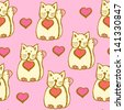 Funny Valentine cats, vector seamless background - stock vector