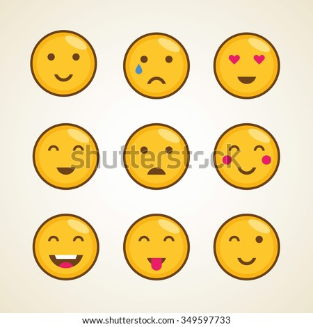 Funny vector character cartoon yellow smiley emoji face emoticons icon symbol template set.