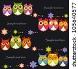 Funny Vector owls on a black background - stock photo