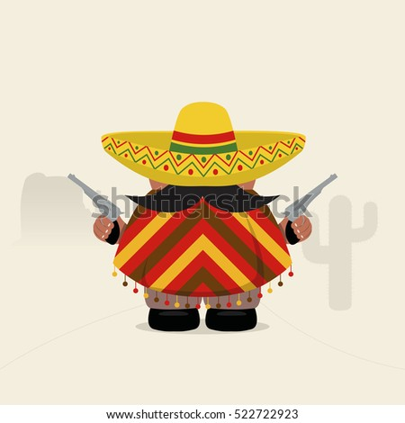 Funny western bandit in sombrero and poncho. Vector illustration