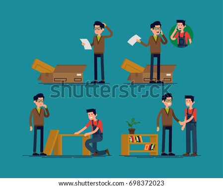 Wonderful Furniture Assembly Help Vector Concept Illustration With Man Confused By  Assembly Instruction And Receiving Help From