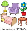 Furniture collection 1 on white background - vector illustration. - stock vector