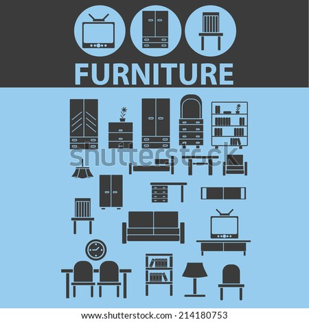 Furniture Icons Retro Chair Lamp Interior Design Room Bedroom Wardrobe