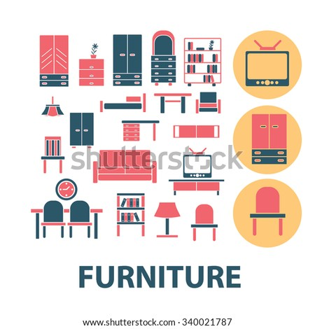 Table Chair Seat Icon Set Stock Vector 421846915