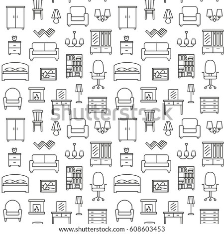 pattern furniture. Furniture Seamless Pattern. Background, Illustration, Vector, Endless Texture, Pattern