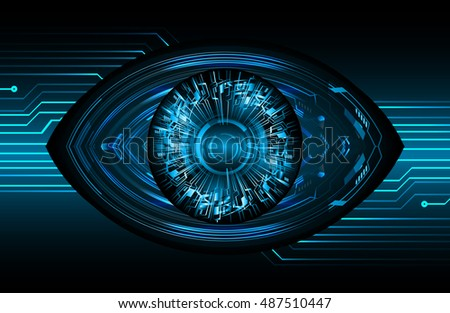 future technology, blue silver eye cyber security concept background, abstract hi speed digital internet.motion move speed blur. eyeball vector