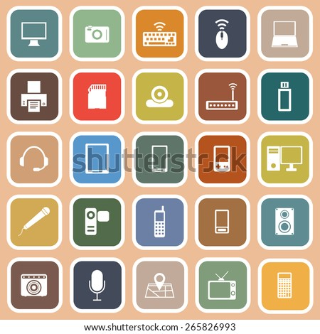 Gadget flat icons on orange background, stock vector