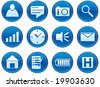 Gadget icons set. White - dark blue palette. Vector illustration. - stock vector