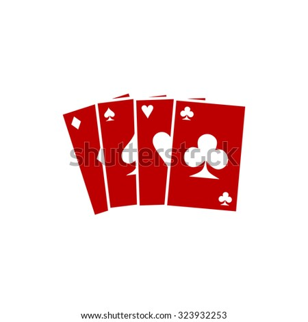 Game cards. Red flat icon. Vector illustration symbol