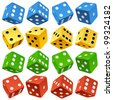 Game dice set. Vector red, yellow, green and blue icons - stock vector