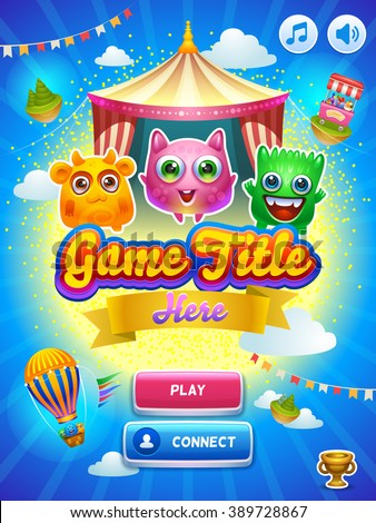 Game UI. Main screen. Creative concept vector interface game design. Cute tiny monsters.