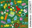 Games doodle set. - stock