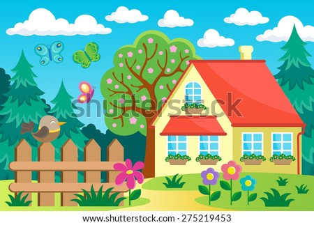 tree animals near house eps10 vector stock vector