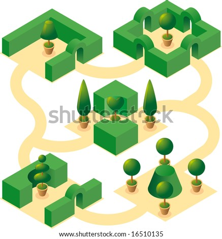 Garden designs set-1. Four classical square garden designs with cultivated cypresses and bushes in isometric view