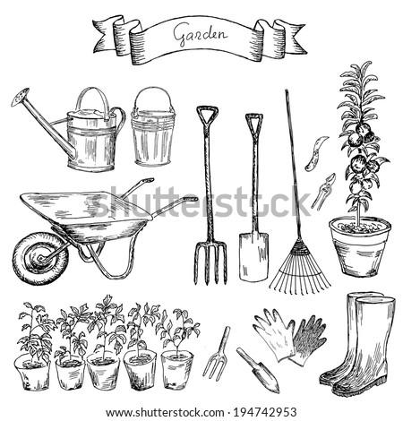 Vector illustration gardening tools stock vector 98853455 for Gardening tools drawing