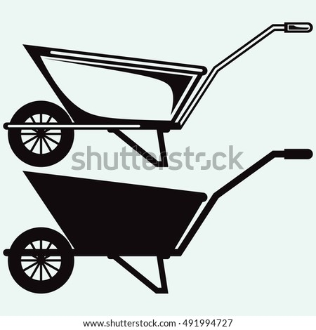 Garden wheelbarrow. Isolated on blue background. Vector silhouettes
