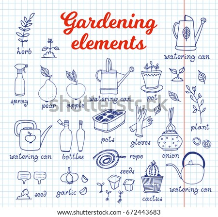 Gardening  horticulture vector set  equipment and tools  vegetables and  plants on notebook background. Food Set Vector Isolated On White Stock Vector 384265837
