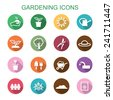 gardening long shadow icons, flat vector symbols - stock