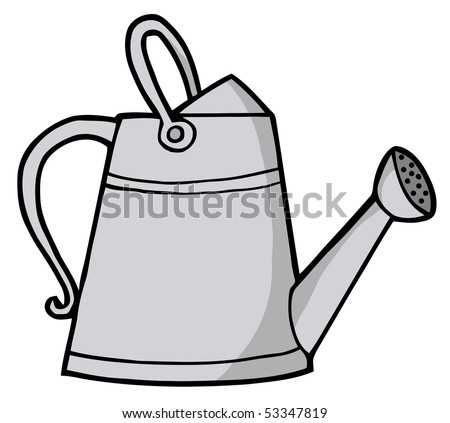 Coloring Page Outline Gardening Watering Can Stock Vector