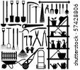 Gardening Tools Silhouette - stock photo